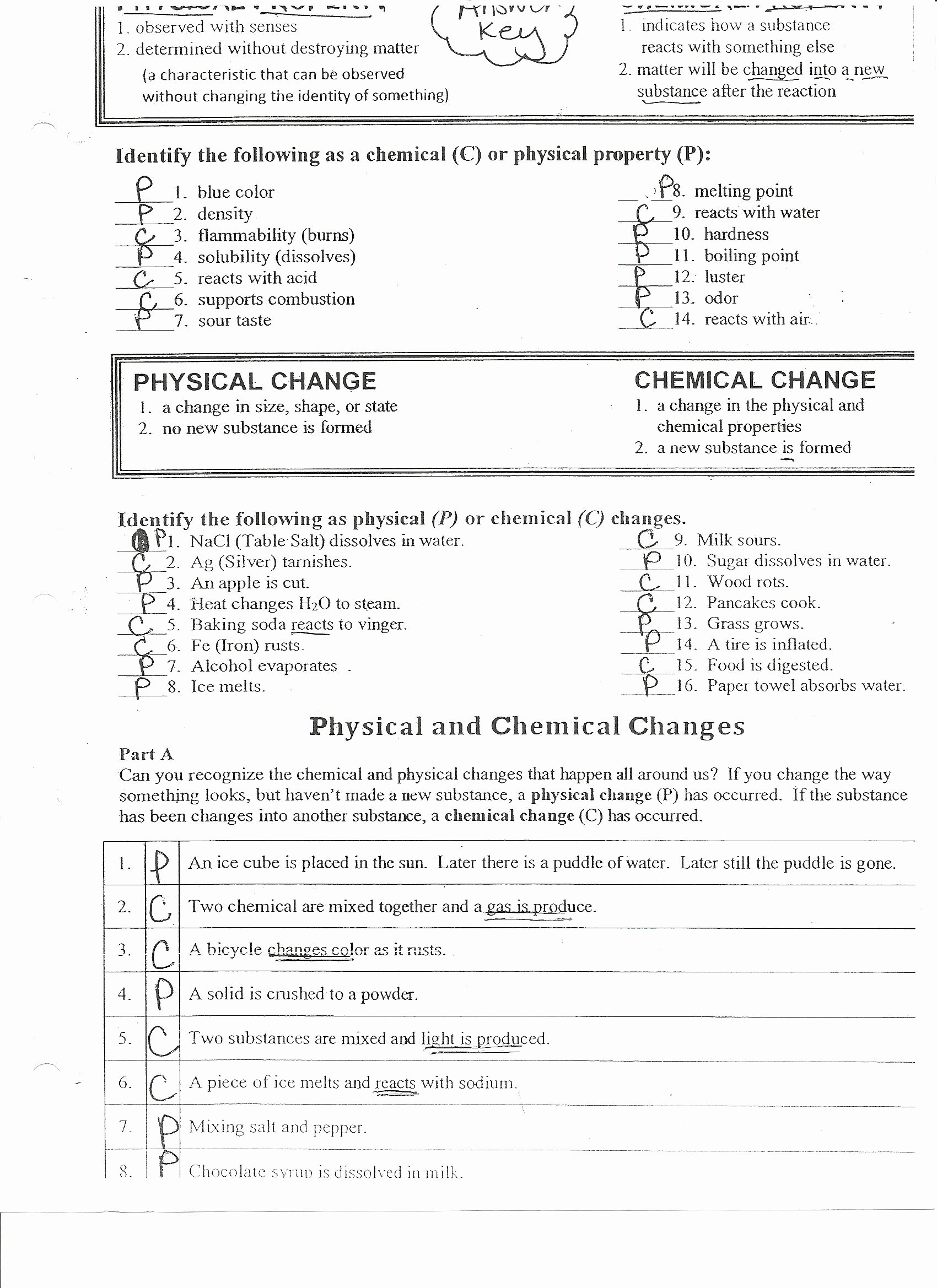 50 Physical And Chemical Change Worksheet