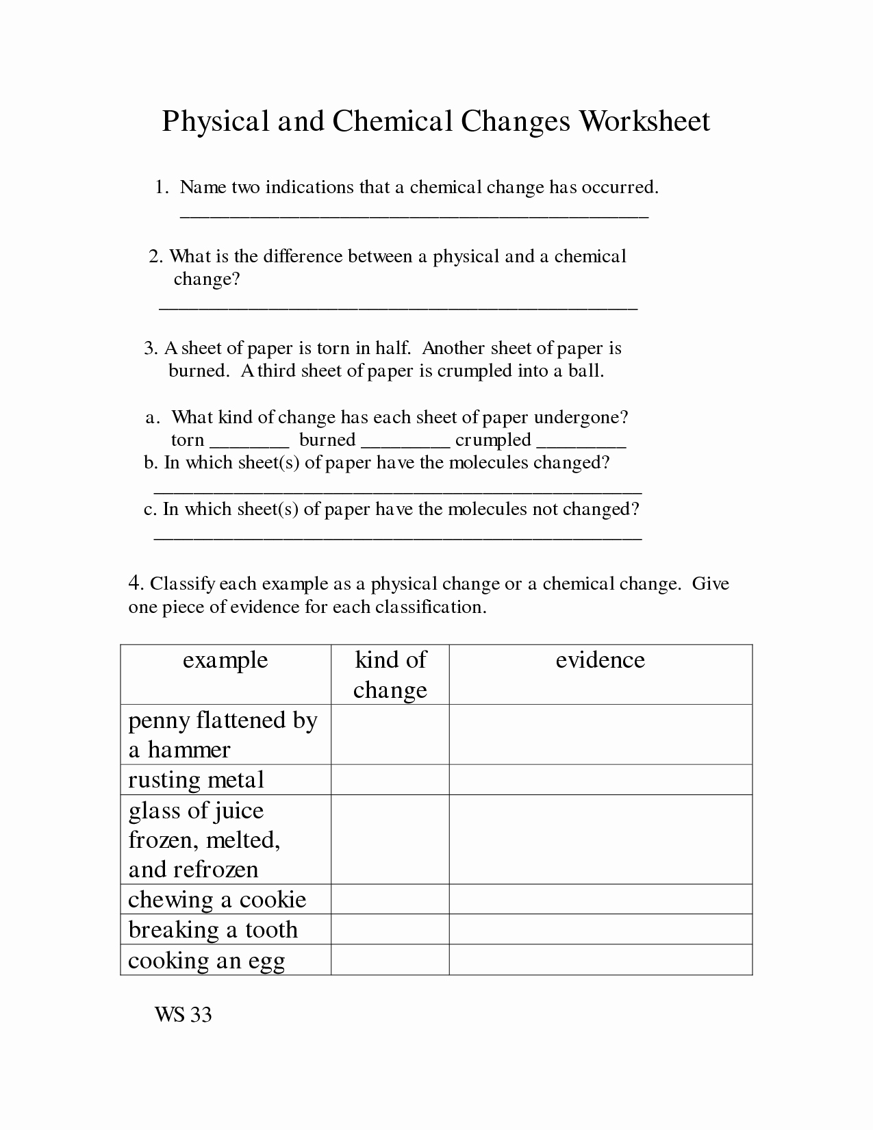 47 Physical Vs Chemical Changes Worksheet