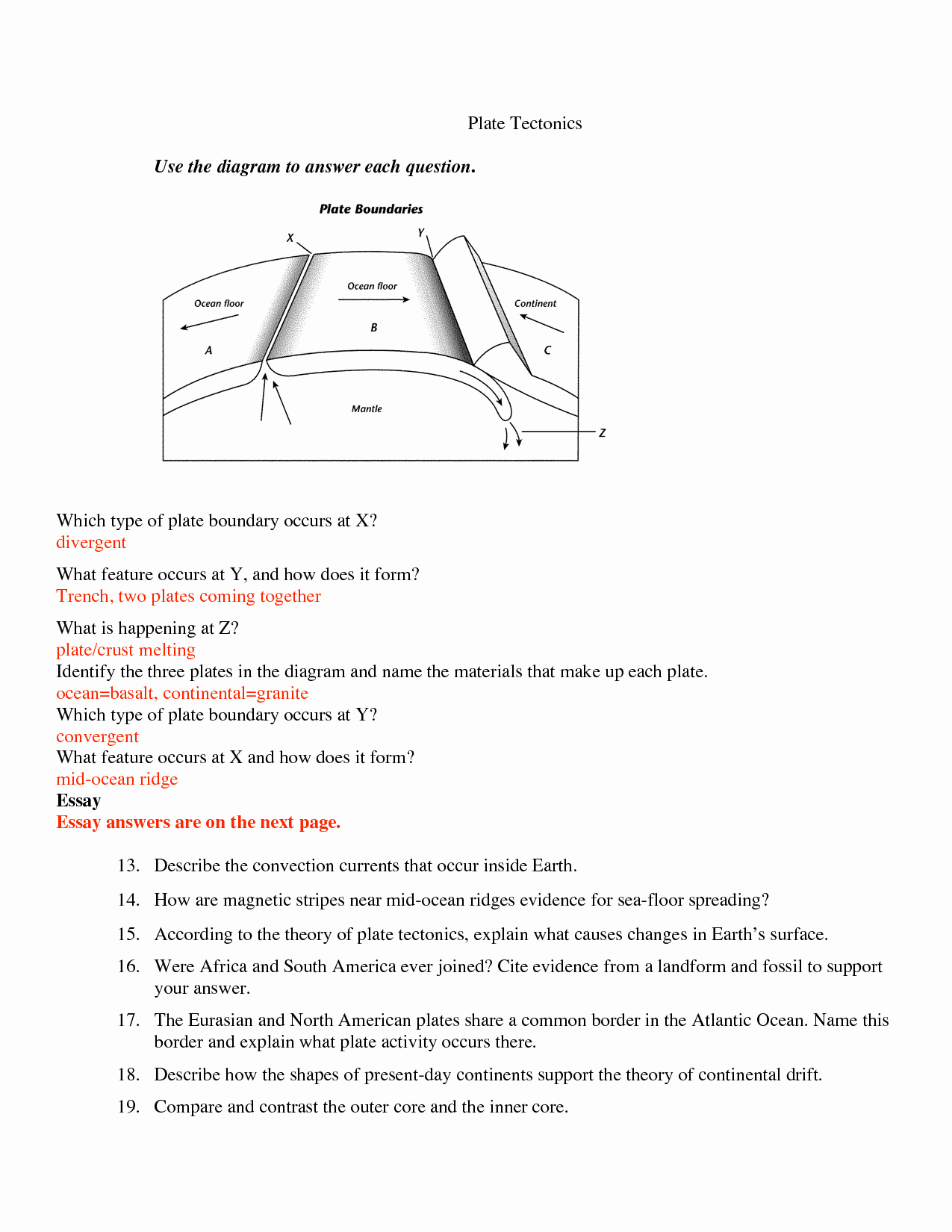 50 Plate Tectonics Worksheet Answers