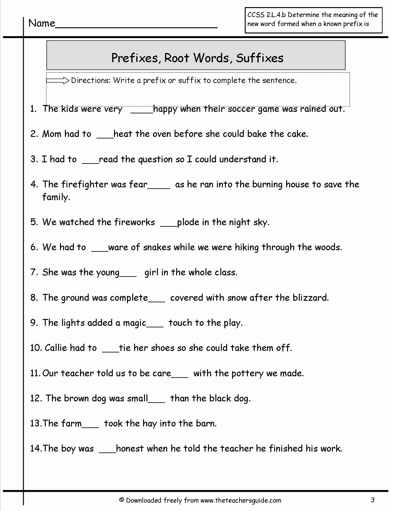 50 Prefixes And Suffixes Worksheet