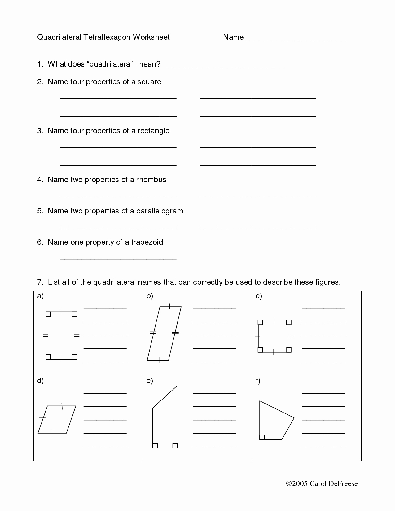 hight resolution of Quadrilateral Worksheet Algebra   Printable Worksheets and Activities for  Teachers