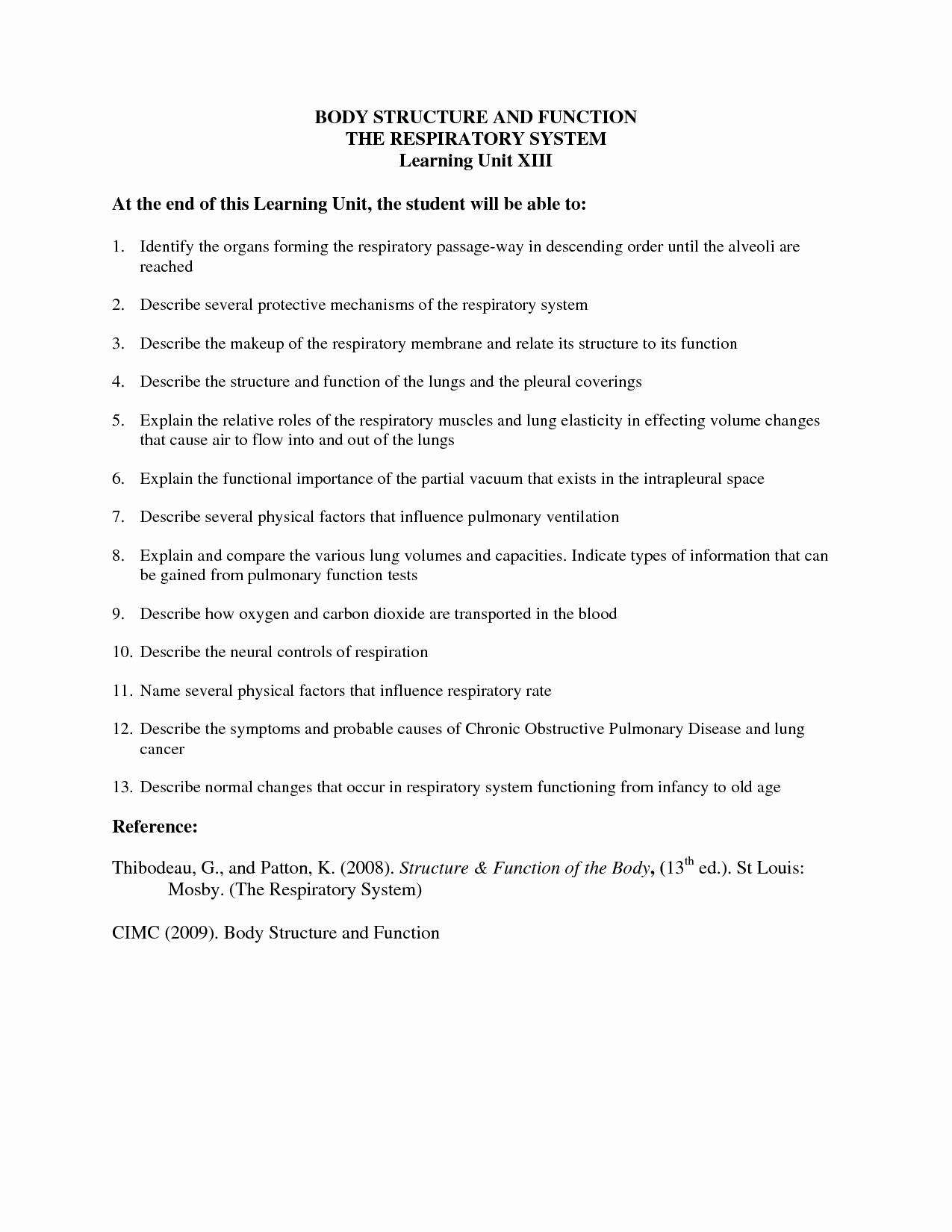 50 Respiratory System Worksheet Answer Key