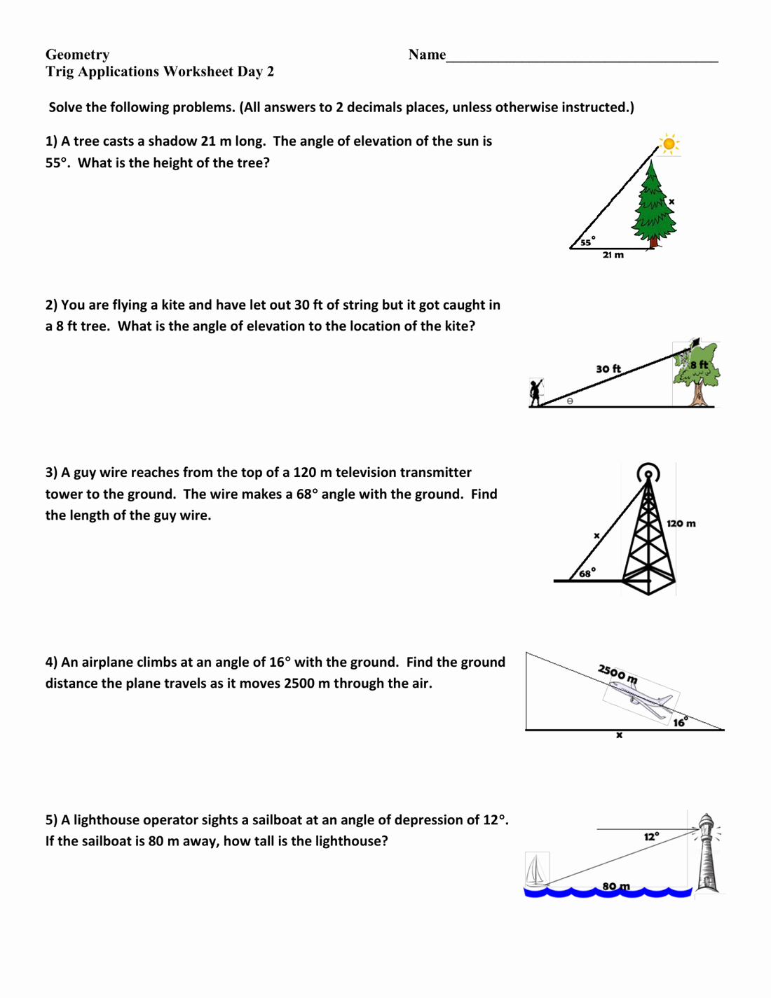50 Right Triangle Trig Worksheet Answers