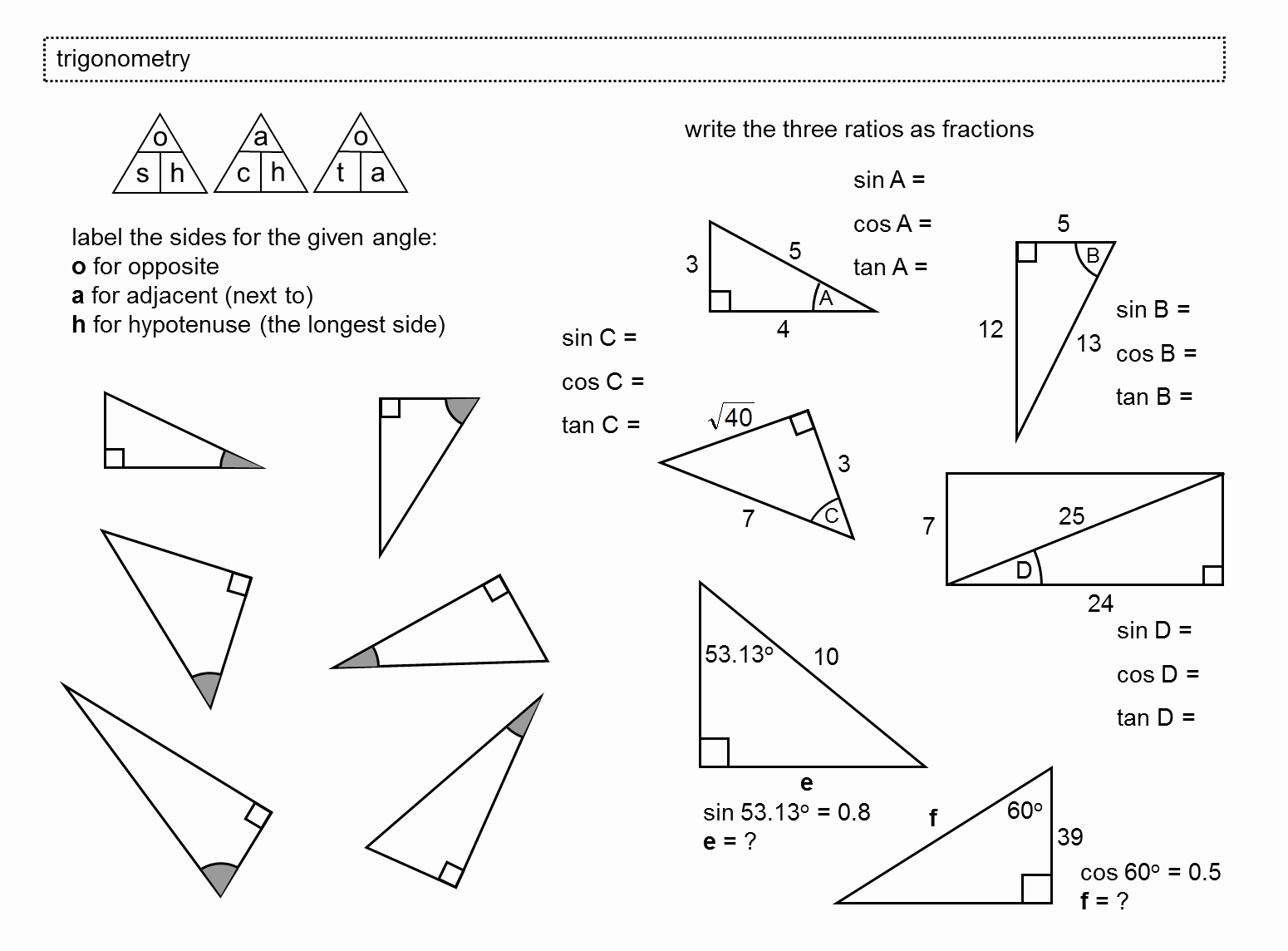 49 Right Triangle Trig Worksheet