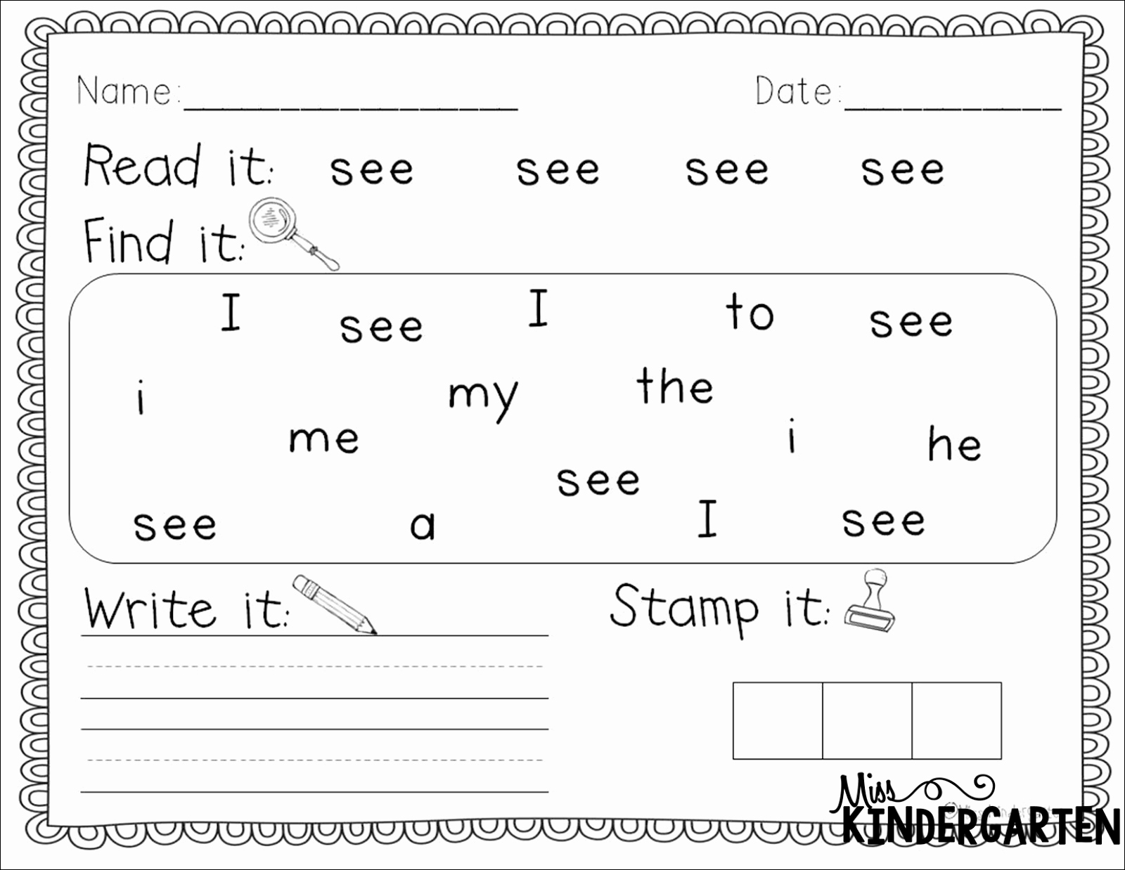 50 Sight Words Worksheet For Kindergarten