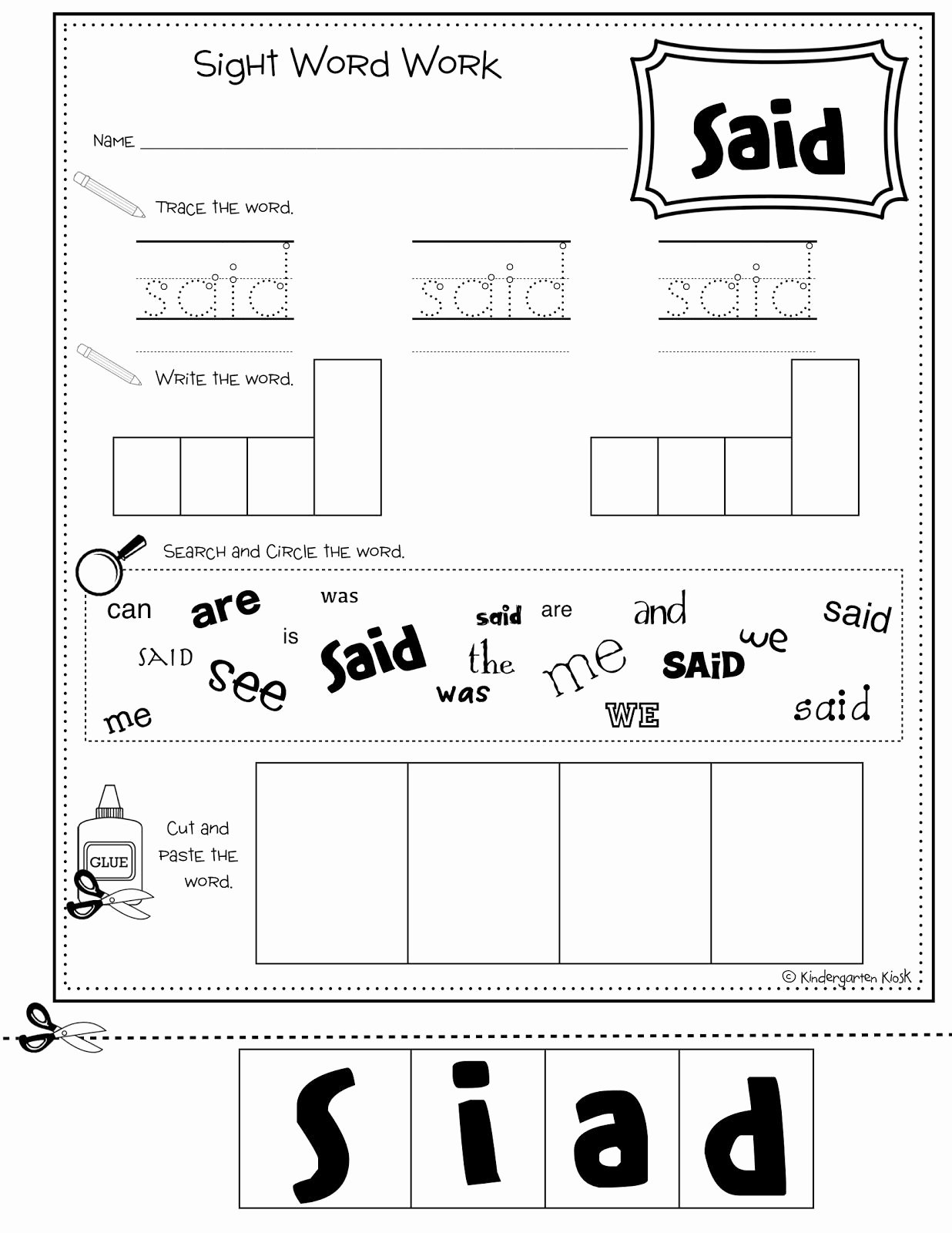 50 Sight Words Worksheet For Kindergarten