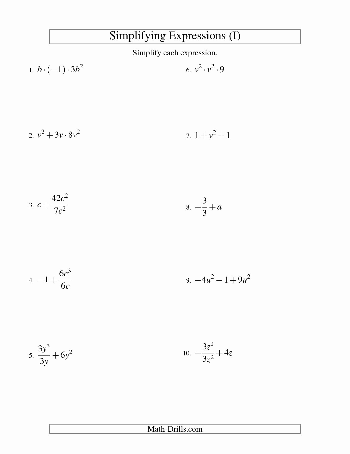 50 Simplifying Algebraic Fractions Worksheet