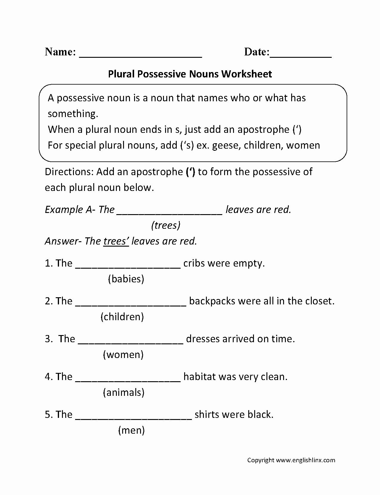50 Singular Possessive Nouns Worksheet
