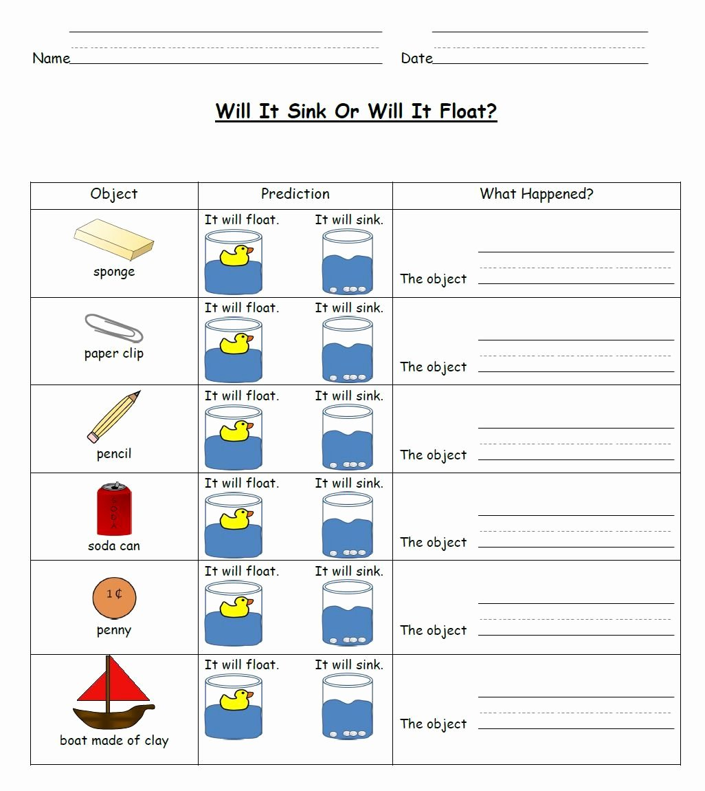 50 Sink Or Float Worksheet