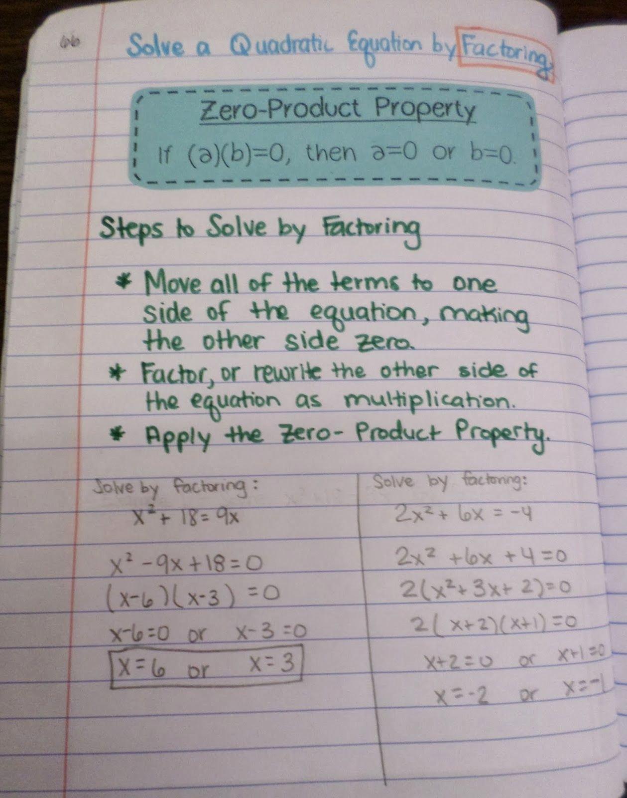 46 Solve Quadratics By Factoring Worksheet