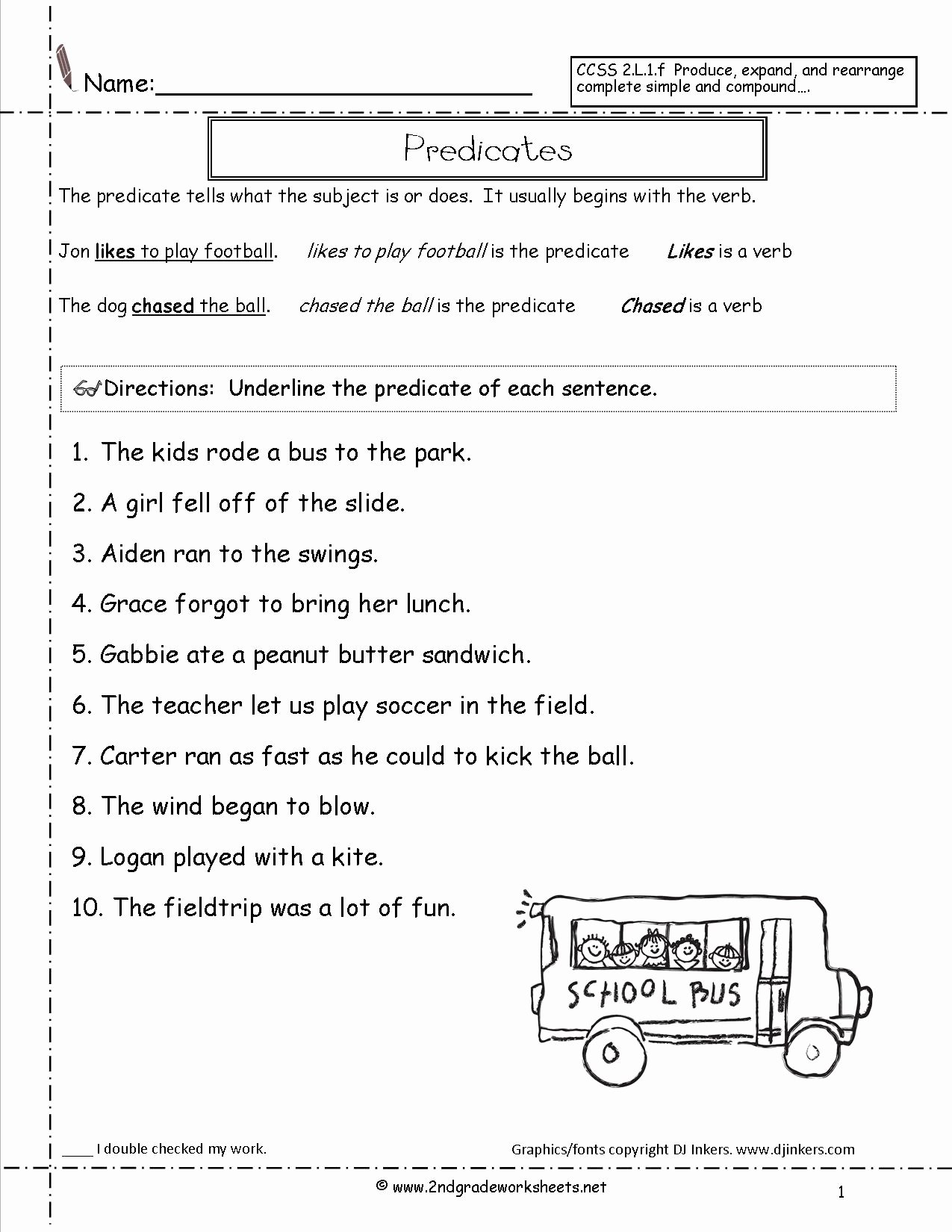50 Subjects And Predicates Worksheet