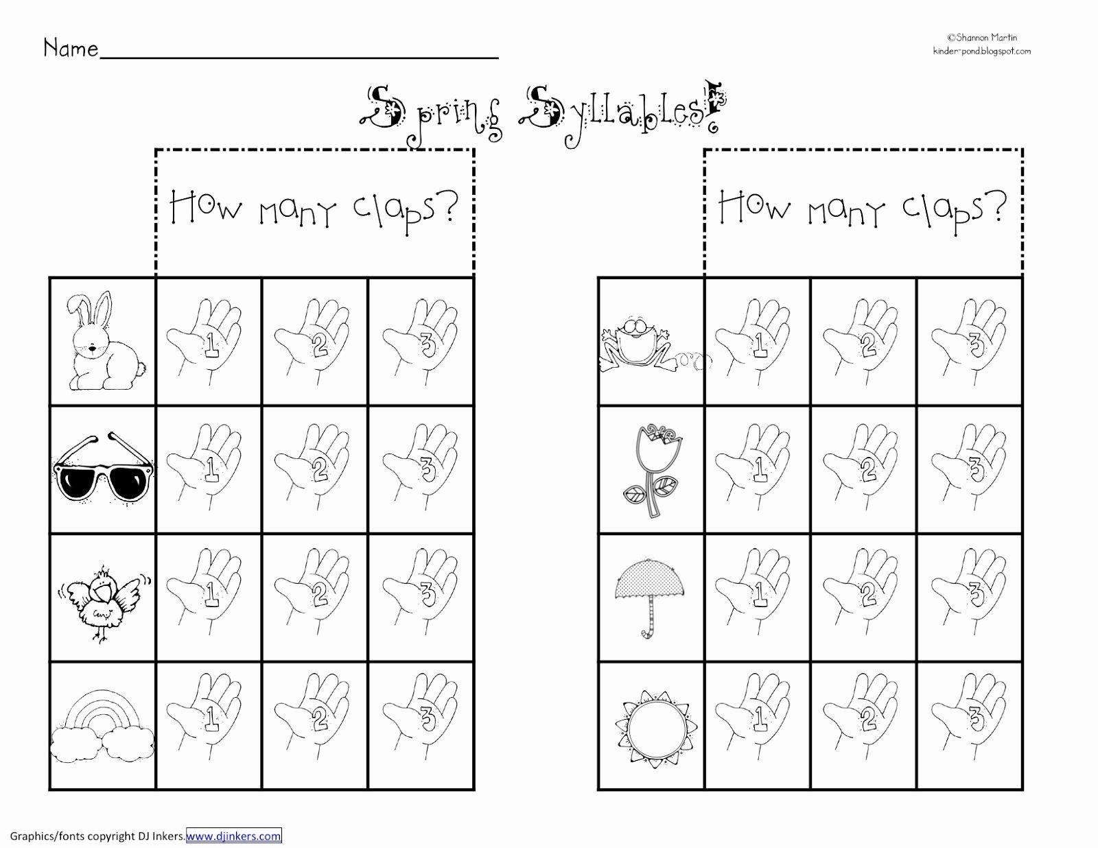 50 Syllables Worksheet For Kindergarten