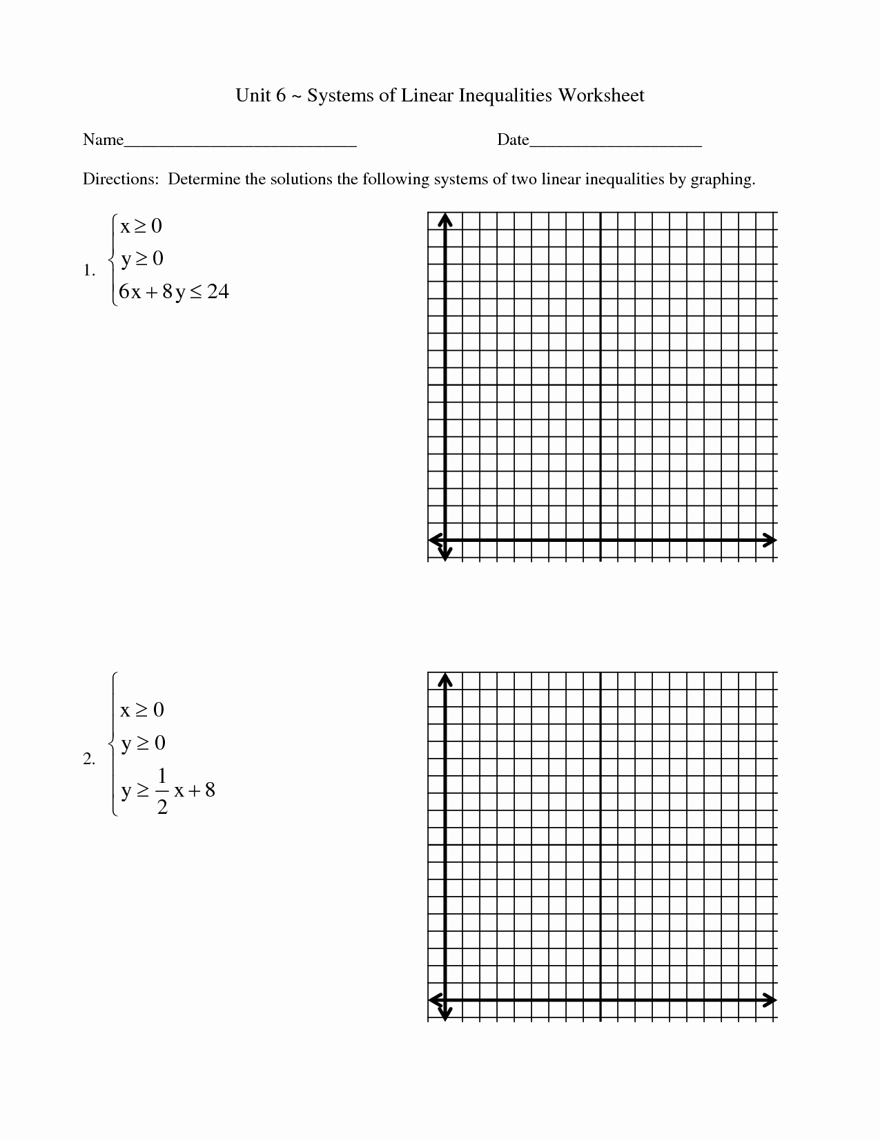50 Systems Of Linear Inequalities Worksheet