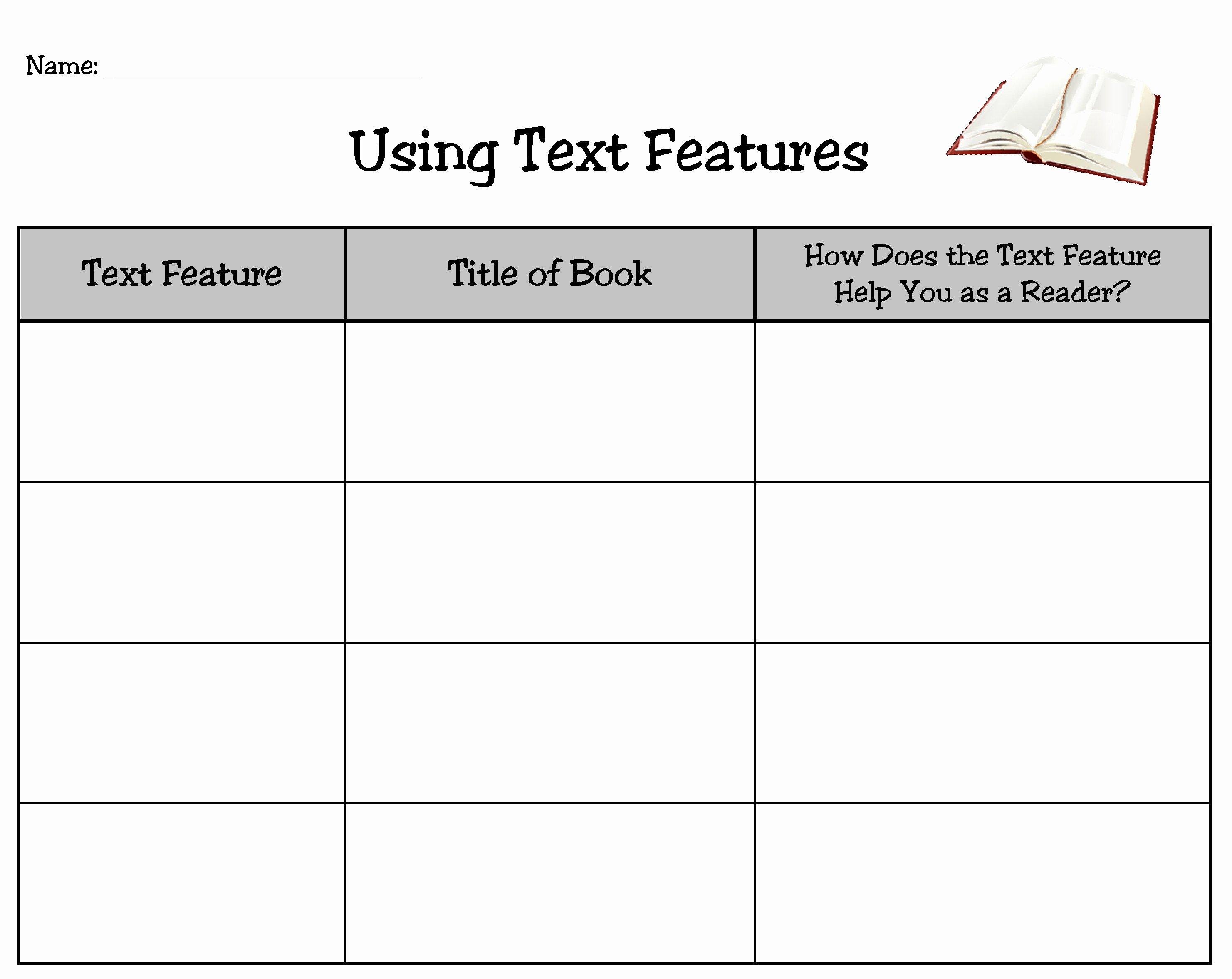 50 Text Features Worksheet 3rd Grade