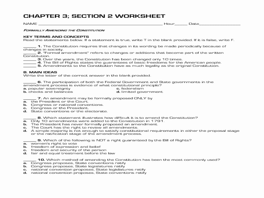 50 The Constitution Worksheet Answers