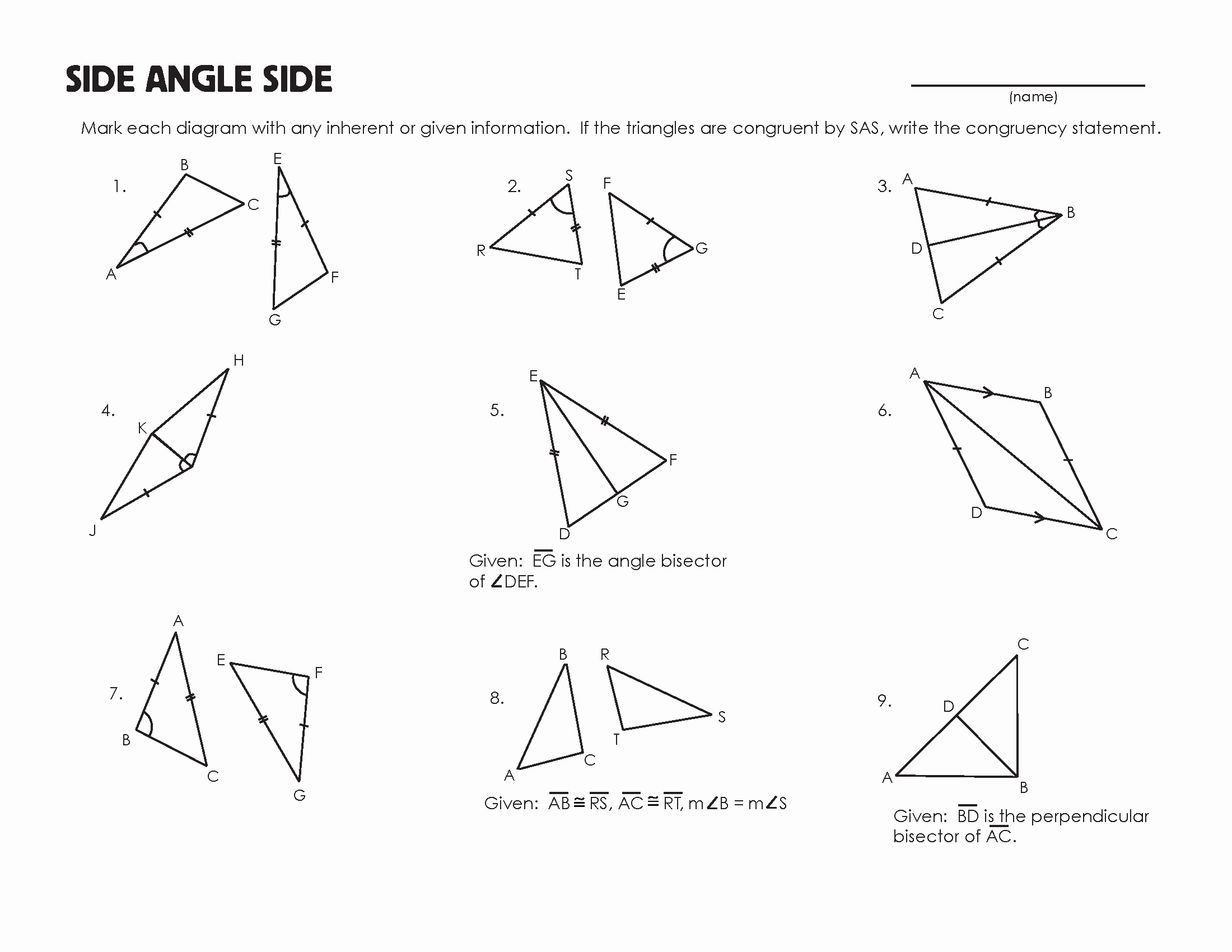 50 Triangle Congruence Worksheet