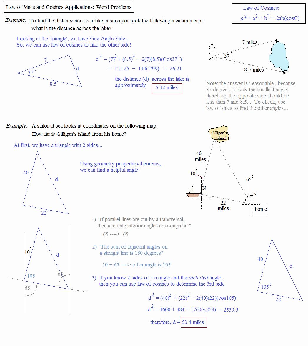 50 Trigonometry Word Problems Worksheet Answers