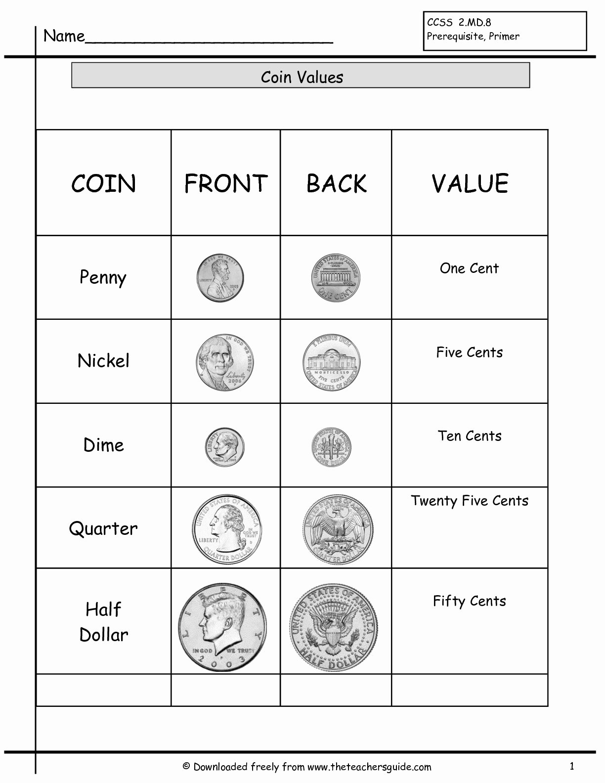 50 Values Of Coins Worksheet