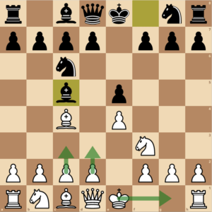Black plays Bc5. White decides what to do