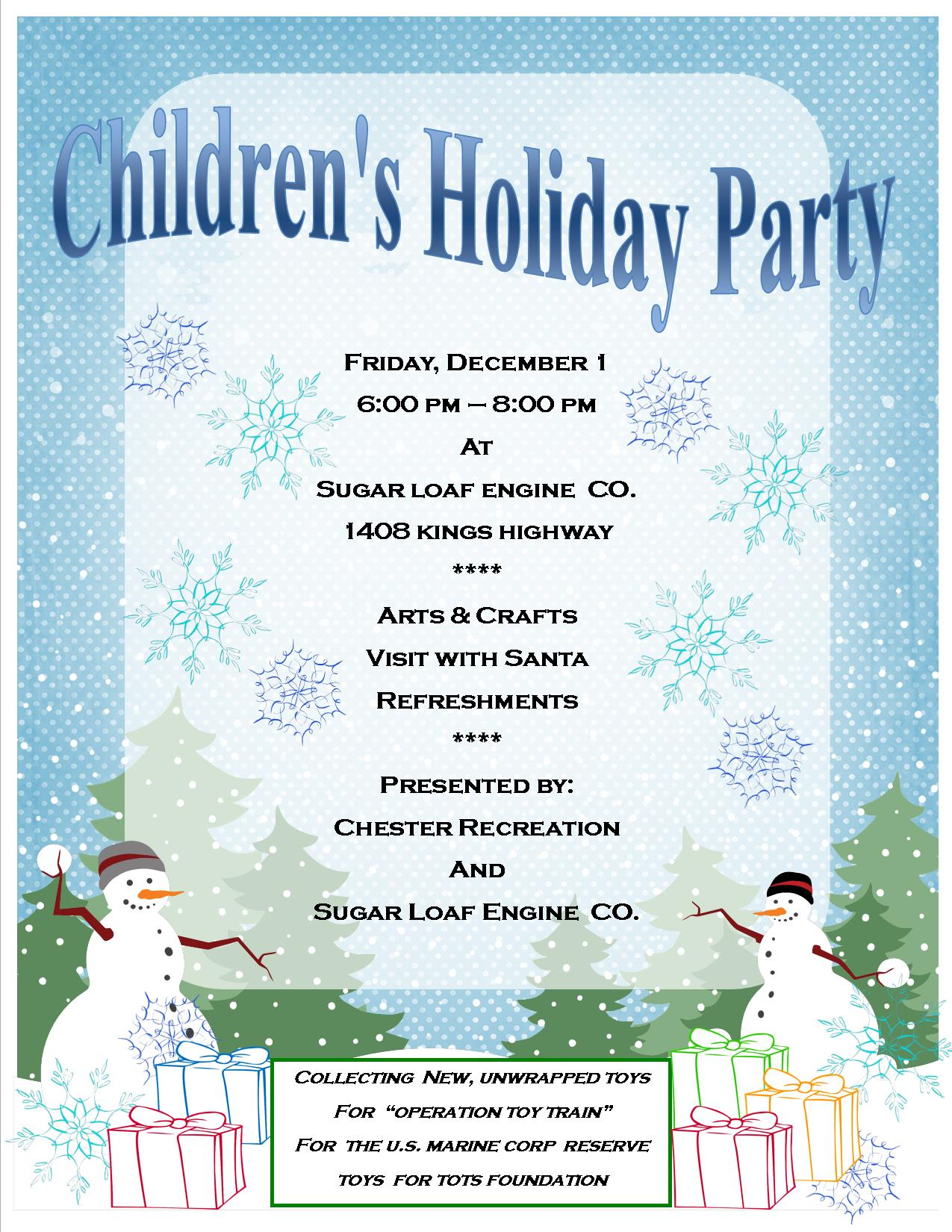 2017 Chester Park & Rec and Sugar Loaf Engine Co. Children's Holiday Party