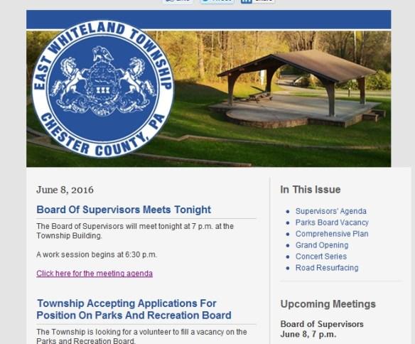 East Whiteland agenda