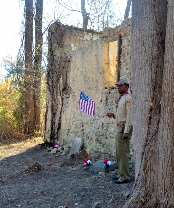 Al at the ceremony this past fall right next to our soldier Joshua's grave