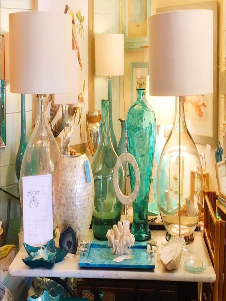 Seagreen bottles clear glass lamp