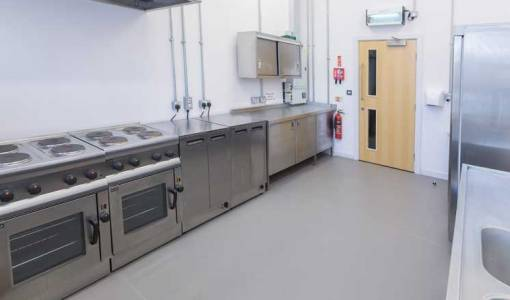 The stainless steel catering kitchen at the Assembly Rooms.