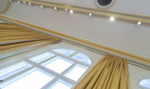 Gold curtains in the Main Hall at the Assembly Rooms.