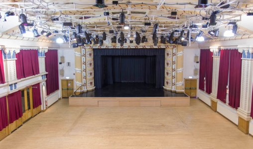 The auditorium at the Winding Wheel in Chesterfield with stage and lighting rigs.