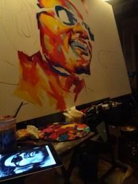 Detour paints Stevie at a restaurant event