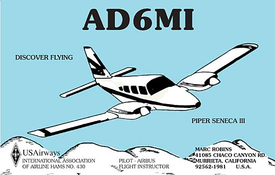 custom QSL cards with an airplane design on front