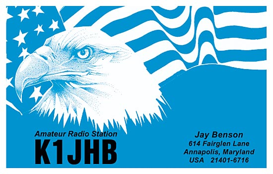 QSL cards with a blue eagle design