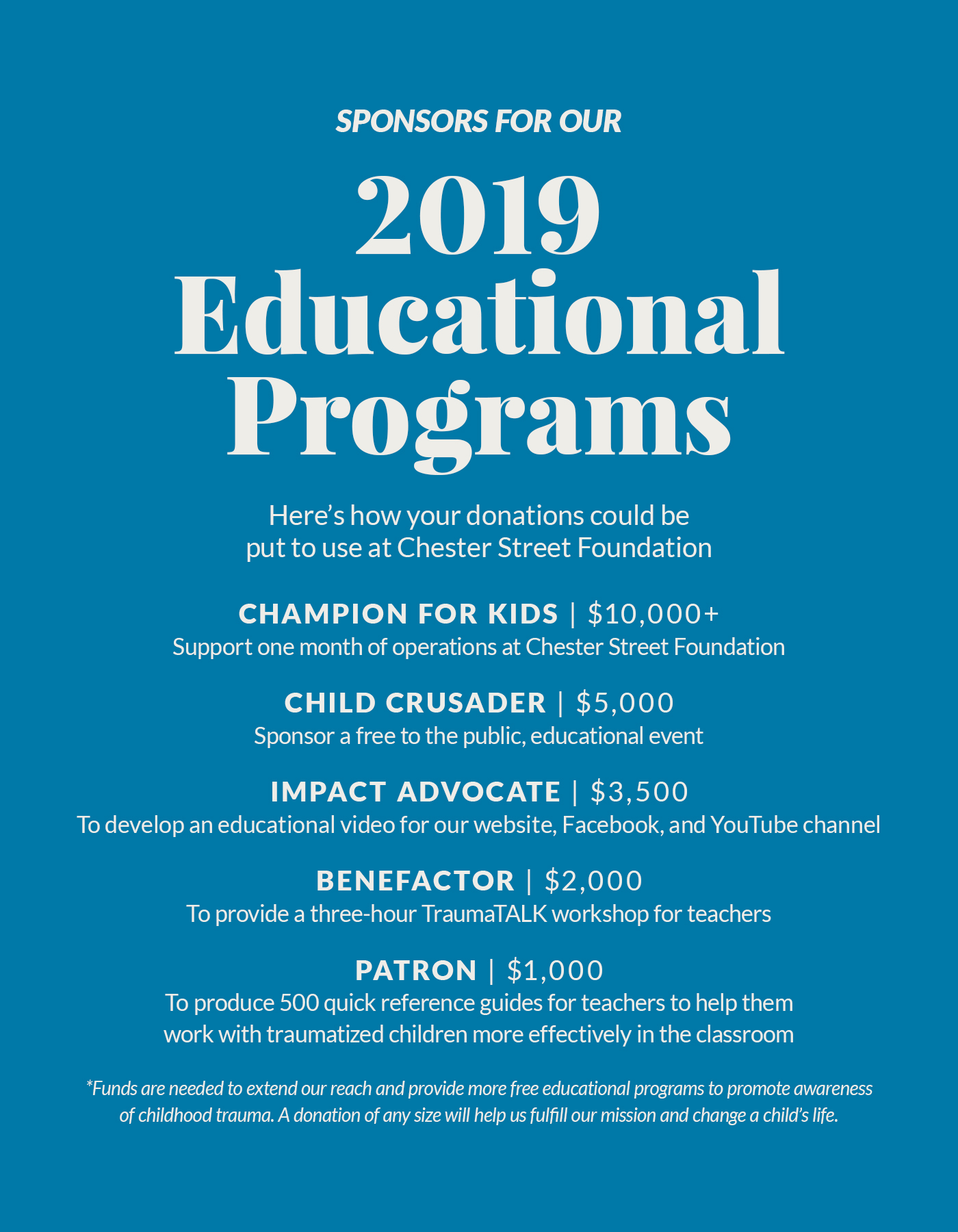 2019 Educational Programs