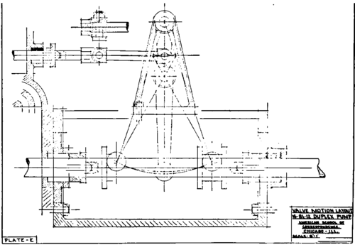 Plates E And F. Valve Motion Layout Mechanical Drawing