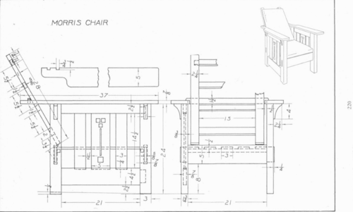 Plate 33 Morris Chair  Mechanical Drawing