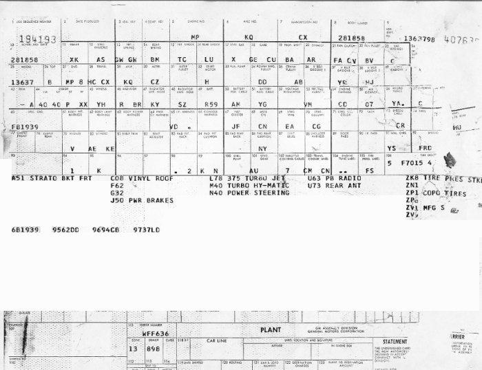 1969 Baltimore Chevelle Build Sheet