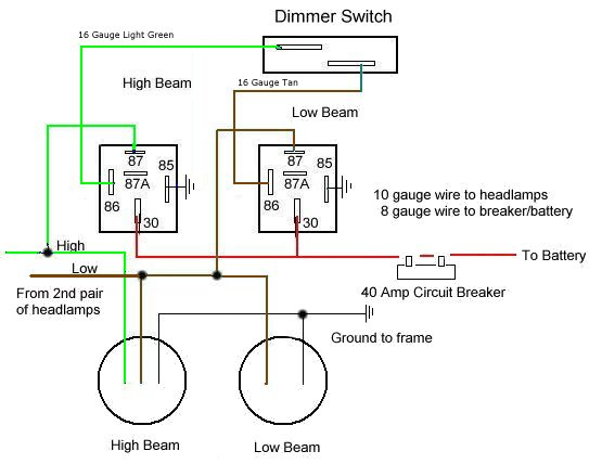 lamp wiring diagram ethernet plug headlamp relay single headlamps