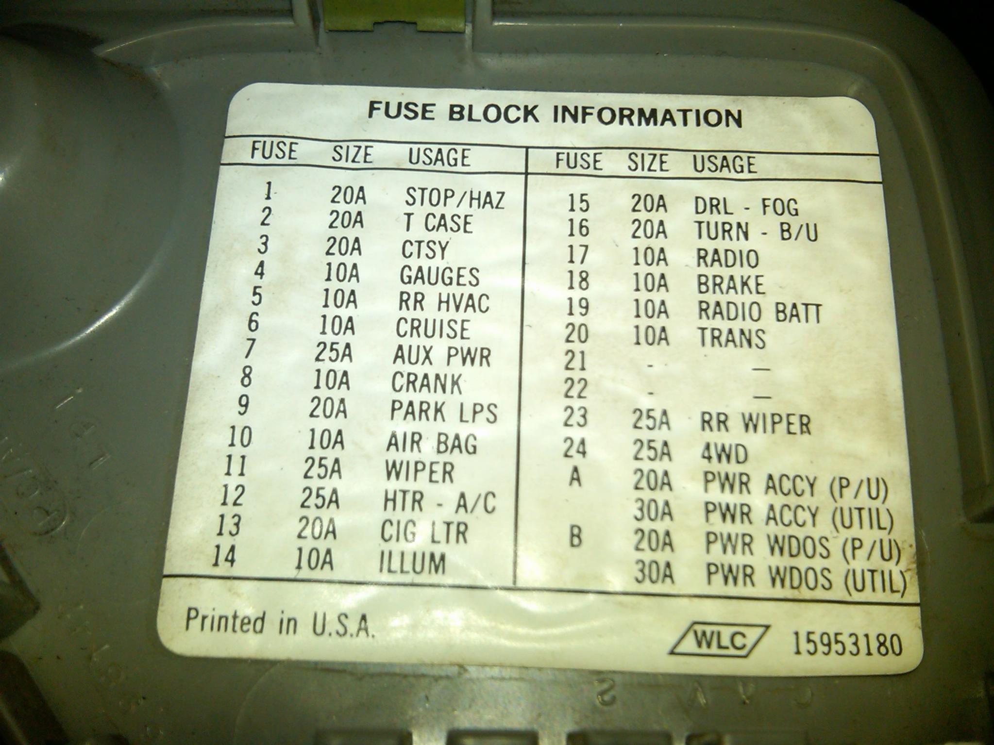2004 Gmc Sierra Fuse Box Diagram Suddenly No Dash Or Ac Heat Backlight On My 95 K1500 A