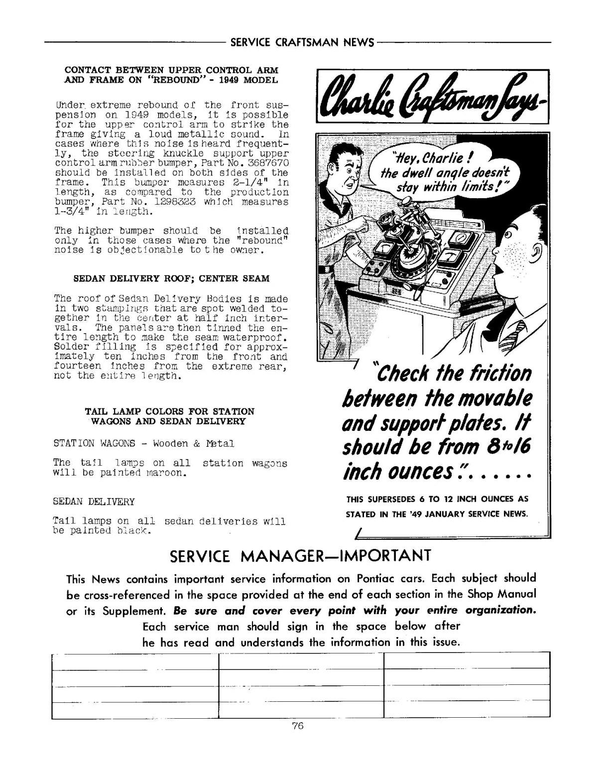 1949 Pontiac Service Craftsman News