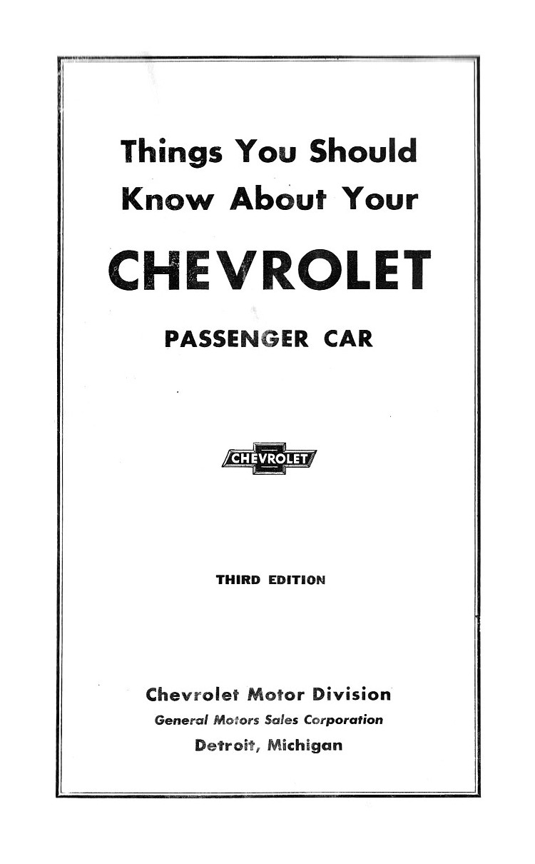 1938 Chevrolet Owners Manual