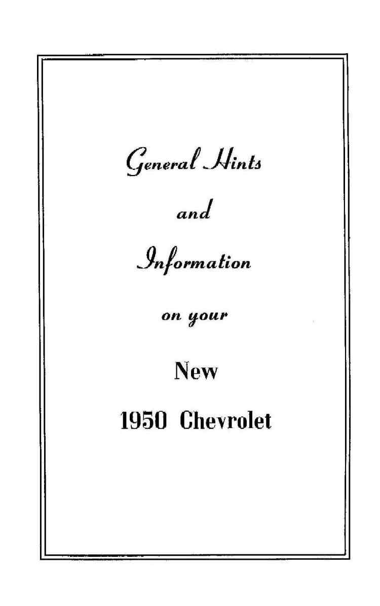 1950 Chevy Owner's Manual
