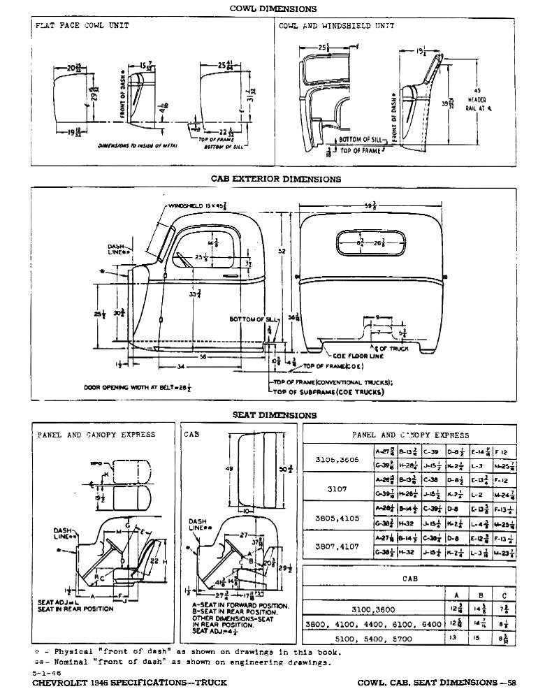 1946 Chevrolet Specifications