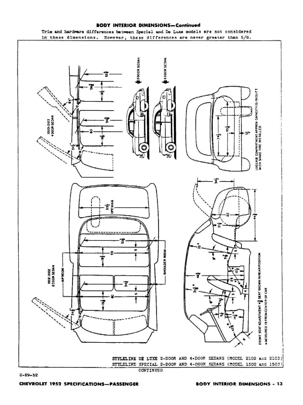 1952 Chevrolet Specifications Pack