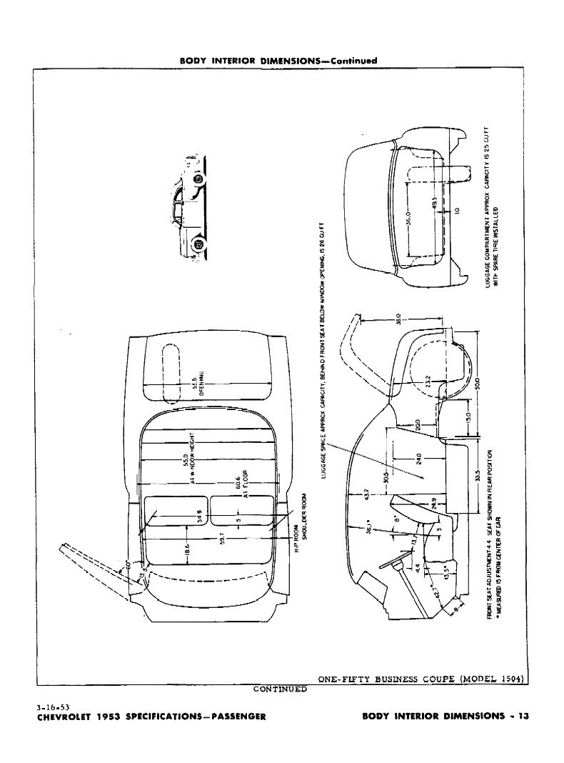 1953 Chevrolet Specifications