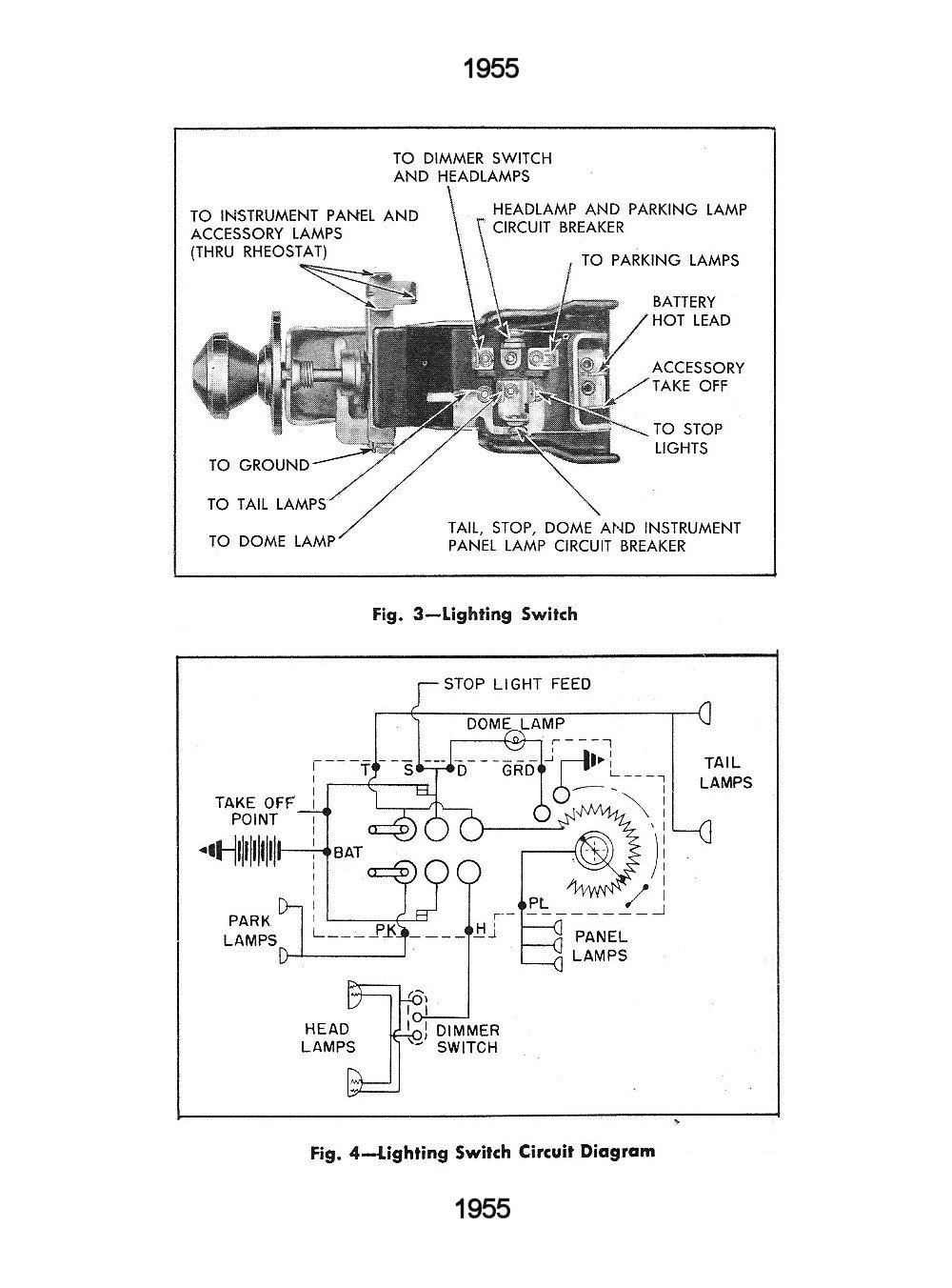 medium resolution of  1955 lighting switch circuit