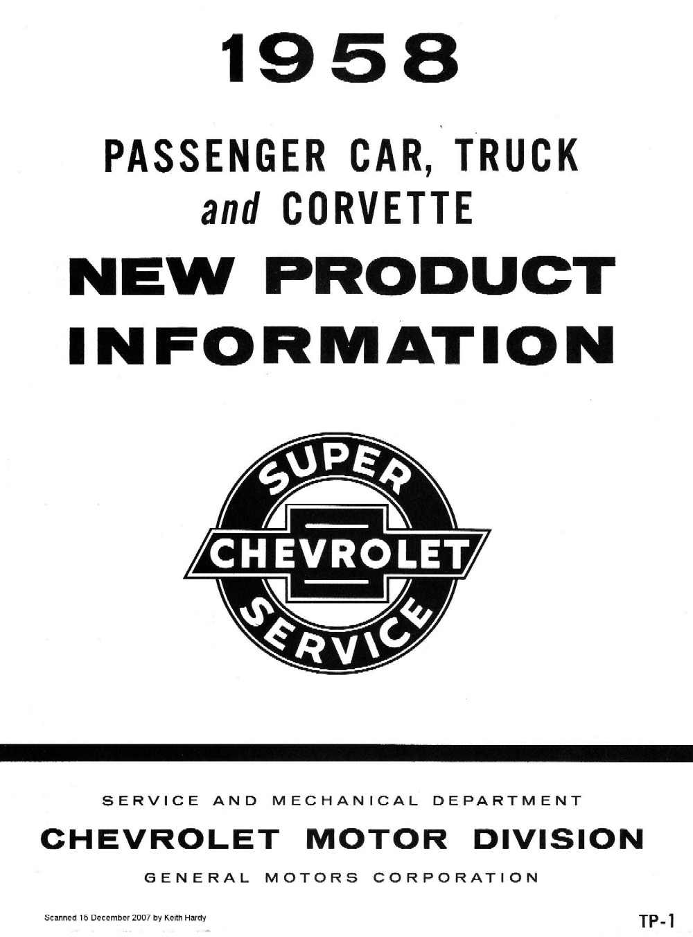 1958 Passenger Car, Truck and Corvette New Product Information