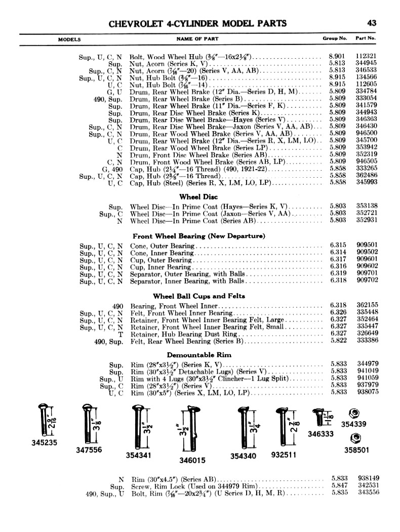 1916-28 Chevy Parts Manual