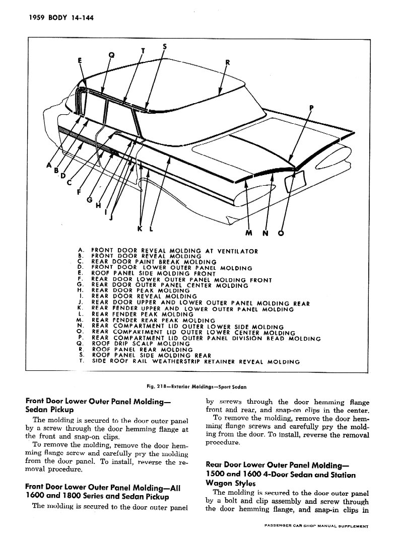 1959 1960 Chevy Shop Manual Supplement