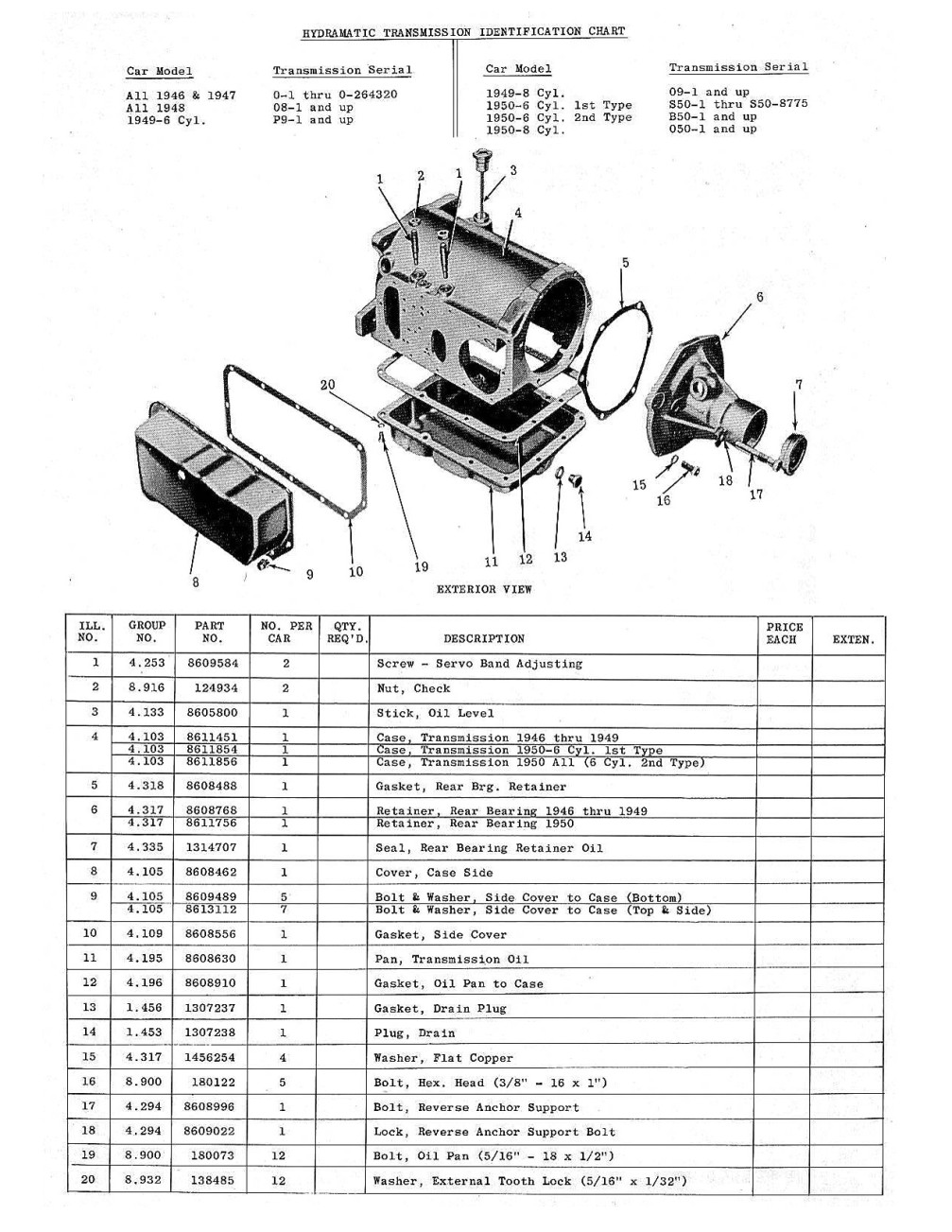 hight resolution of 1946 1950 hydra matic transmission parts requisition for oldsmobile models
